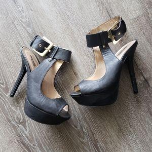 Charlotte Russe ankle buckle peep toe heels